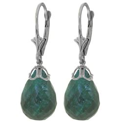 ALARRI 29.6 CTW 14K Solid White Gold Leverback Earrings Briolette Emerald