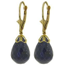 ALARRI 29.6 CTW 14K Solid Gold Leverback Earrings Briolette Sapphire