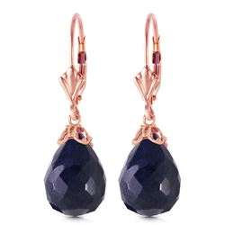 ALARRI 14K Solid Rose Gold Leverback Earrings w/ Briolette Sapphires