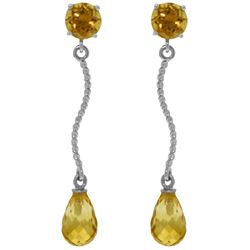 ALARRI 4.3 CTW 14K Solid White Gold Danglings Earrings Natural Citrine