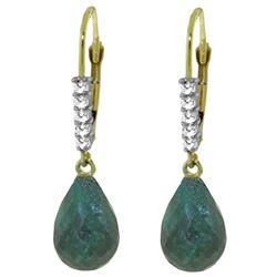 ALARRI 17.75 CTW 14K Solid Gold Leverback Earrings Natural Diamond Emerald
