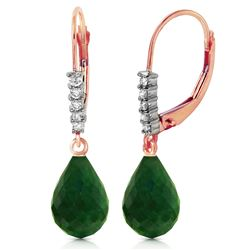 ALARRI 14K Solid Rose Gold Leverback Earrings w/ Natural Diamonds & Emeralds