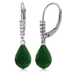 ALARRI 17.75 CTW 14K Solid White Gold Leverback Earrings Natural Diamond Emerald