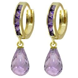 ALARRI 5.35 Carat 14K Solid Gold Hoop Earrings Dangling Amethyst
