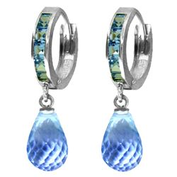 ALARRI 5.35 CTW 14K Solid White Gold Gem Proud Blue Topaz Earrings