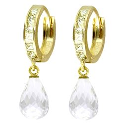 ALARRI 5.35 Carat 14K Solid Gold Hoop Earrings Dangling White Topaz