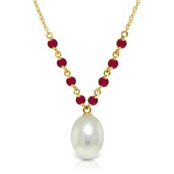 ALARRI 5 CTW 14K Solid Gold Necklace Natural Rubys Pearl