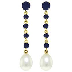 ALARRI 10 CTW 14K Solid New View Sapphire Pearl Earrings