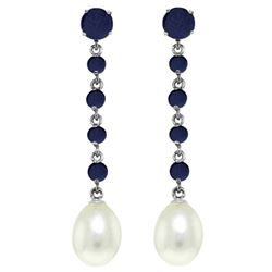 ALARRI 10 Carat 14K Solid White Gold Only Now Sapphire Pearl Earrings