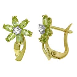ALARRI 1.1 CTW 14K Solid Gold Daisy Peridot Diamond Earrings