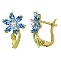 ALARRI 1.1 Carat 14K Solid Gold Daisy Blue Topaz Diamond Earrings