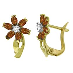 ALARRI 1.1 Carat 14K Solid Gold Daisy Garnet Diamond Earrings