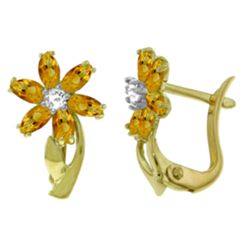 ALARRI 1.1 Carat 14K Solid Gold Daisy Citrine Diamond Earrings