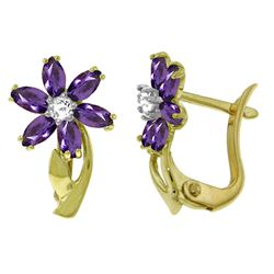 ALARRI 1.1 Carat 14K Solid Gold Daisy Amethyst Diamond Earrings