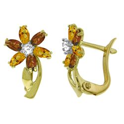 ALARRI 1.1 CTW 14K Solid Gold Earrings Diamond, Citrine Garnet