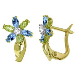 ALARRI 1.1 Carat 14K Solid Gold Earrings Diamond, Blue Topaz Peridot