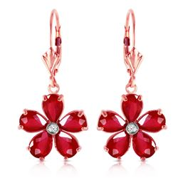 ALARRI 14K Solid Rose Gold Leverback Earrings w/ Rubies & Diamonds