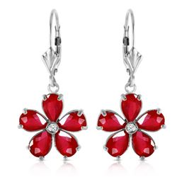ALARRI 4.43 Carat 14K Solid White Gold Leverback Earrings Ruby Diamond