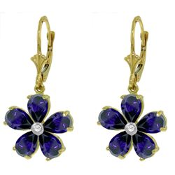 ALARRI 4.43 CTW 14K Solid Gold Leverback Earrings Sapphire Diamond