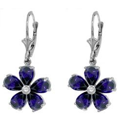 ALARRI 4.43 Carat 14K Solid White Gold Leverback Earrings Sapphire Diamond