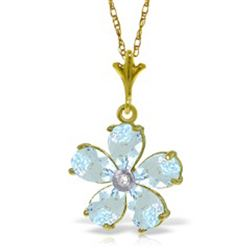 ALARRI 2.22 Carat 14K Solid Gold Necklace Natural Aquamarine Diamond