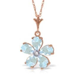 ALARRI 14K Solid Rose Gold Necklace w/ Natural Aquamarines & Diamond