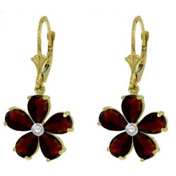 ALARRI 4.43 Carat 14K Solid Gold Leverback Earrings Garnet Diamond