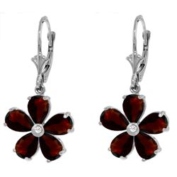ALARRI 4.43 Carat 14K Solid White Gold Leverback Earrings Garnet Diamond