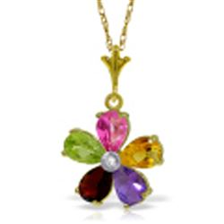 ALARRI 2.22 Carat 14K Solid Gold Necklace Natural Multi Gemstones Diamond