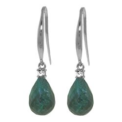 ALARRI 6.7 Carat 14K Solid White Gold Opposites Attract Emerald Diamond Earrings