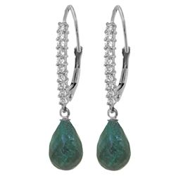 ALARRI 6.9 Carat 14K Solid White Gold Accept My Passion Emerald Diamond Earrings