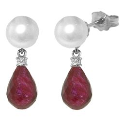 ALARRI 8.7 Carat 14K Solid White Gold Stud Earrings Diamond, Ruby Pearl