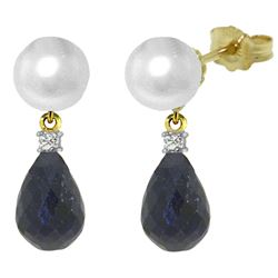 ALARRI 8.7 Carat 14K Solid Gold Stud Earrings Diamond, Sapphire Pearl