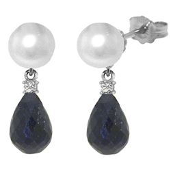 ALARRI 8.7 Carat 14K Solid White Gold Stud Earrings Diamond, Sapphire Pearl