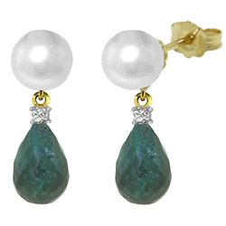 ALARRI 8.7 Carat 14K Solid Gold Stud Earrings Diamond, Emerald Pearl