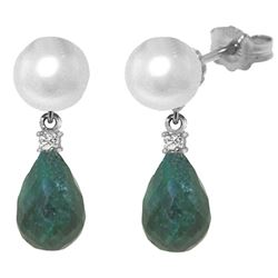 ALARRI 8.7 CTW 14K Solid White Gold Stud Earrings Diamond, Emerald Pearl