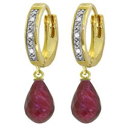ALARRI 6.64 Carat 14K Solid Gold Tres Chic Ruby Diamond Earrings