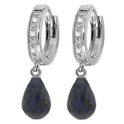 ALARRI 6.64 Carat 14K Solid White Gold Impeccable Taste Sapphire Diamond Earrings