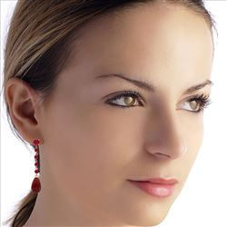 ALARRI 31.6 Carat 14K Solid Rose Gold Ruby Drop Earrings