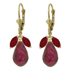 ALARRI 18.6 Carat 14K Solid Gold Leverback Earrings Natural Ruby