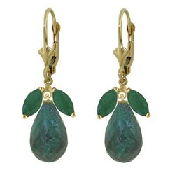 ALARRI 18.6 Carat 14K Solid Gold Leverback Earrings Natural Emerald