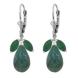 ALARRI 18.6 CTW 14K Solid White Gold Leverback Earrings Natural Emerald