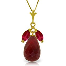 ALARRI 9.3 Carat 14K Solid Gold No Dull Winter Ruby Necklace