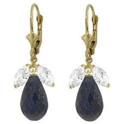 ALARRI 18.6 CTW 14K Solid Gold Leverback Earrings Sapphire White Topaz