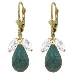ALARRI 18.6 CTW 14K Solid Gold Leverback Earrings Emerald White Topaz