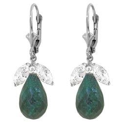 ALARRI 18.6 CTW 14K Solid White Gold Leverback Earrings Emerald White Topaz