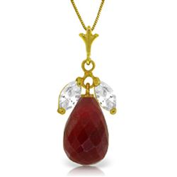 ALARRI 9.3 Carat 14K Solid Gold Necklace Natural Ruby White Topaz