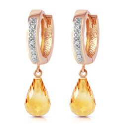 ALARRI 14K Solid Rose Gold Hoop Earrings w/ Diamonds & Citrines