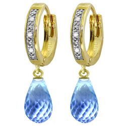 ALARRI 4.54 Carat 14K Solid Gold Tres Chic Blue Topaz Diamond Earrings