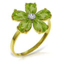 ALARRI 2.22 Carat 14K Solid Gold Change Is Good Peridot Diamond Ring